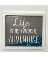 Life is My Favorite Adventure Hanging Box Sign Loose Moving Sequins New ... - $14.55