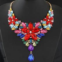 Big Choker Necklace Crystal Flower Necklaces & Pendants Maxi Women Colli... - $15.16