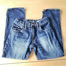 Cotton Blue Denim Jeans 8R Straight Adjustable Waist Zip Closure GapKids... - $10.89
