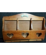 Wooden Heart Design Letter/Key Holder Organizer Rare Vintage 15.5 x11 - $34.99