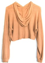 Forever 21 Terra Cotta Orange Raw Hem Cropped Long Sleeve Hooded Top Size S image 2