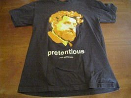 zach galifianakis Pretentious Illiterate comedy t-shirt (S) mens BROWN M... - $13.95