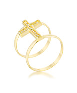 Francis 0.08ct CZ 14k Gold Contemporary Cross Ring - $24.00