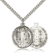 St. Benedict - Silver Filled  - Pendant on a 24 inch  Heavy Curb Chain
