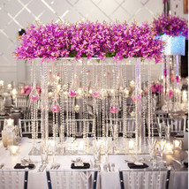 Crystal Clear Glass Centerpiece Garland Hanging Strands Curtains Wedding... - $42.06