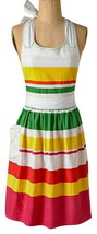 Anthropologie Chicle Apron Cotton Colorful Cheerful Striped Hostess Wedd... - £19.63 GBP
