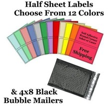4x8 ( Black ) Poly Bubble Mailers + Half Sheet Self Adhesive Shipping La... - $2.99+
