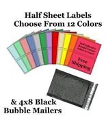 4x8 ( Black ) Poly Bubble Mailers + Half Sheet Self Adhesive Shipping La... - $2.99+