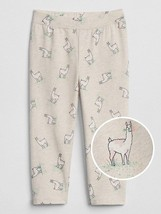 Gap Kids Girls Legging 5 5T Oatmeal Gray Llama Animal Print Crop Stretch... - $14.99
