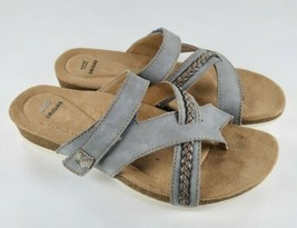 Earth Origins Leather Thong Sandals Bosk Brent Pearl Blue 7.5W Wide - $41.58