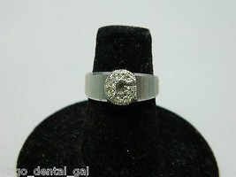 """VTG Silver Tone """"G"""" Initial Initialed Rhinestone Cocktail Ring Size 4.75 - $19.80"""