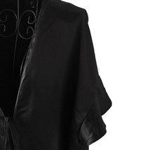 Victorias Secret Ruffled Short Black Satin Robe Coverup One Size - $22.88