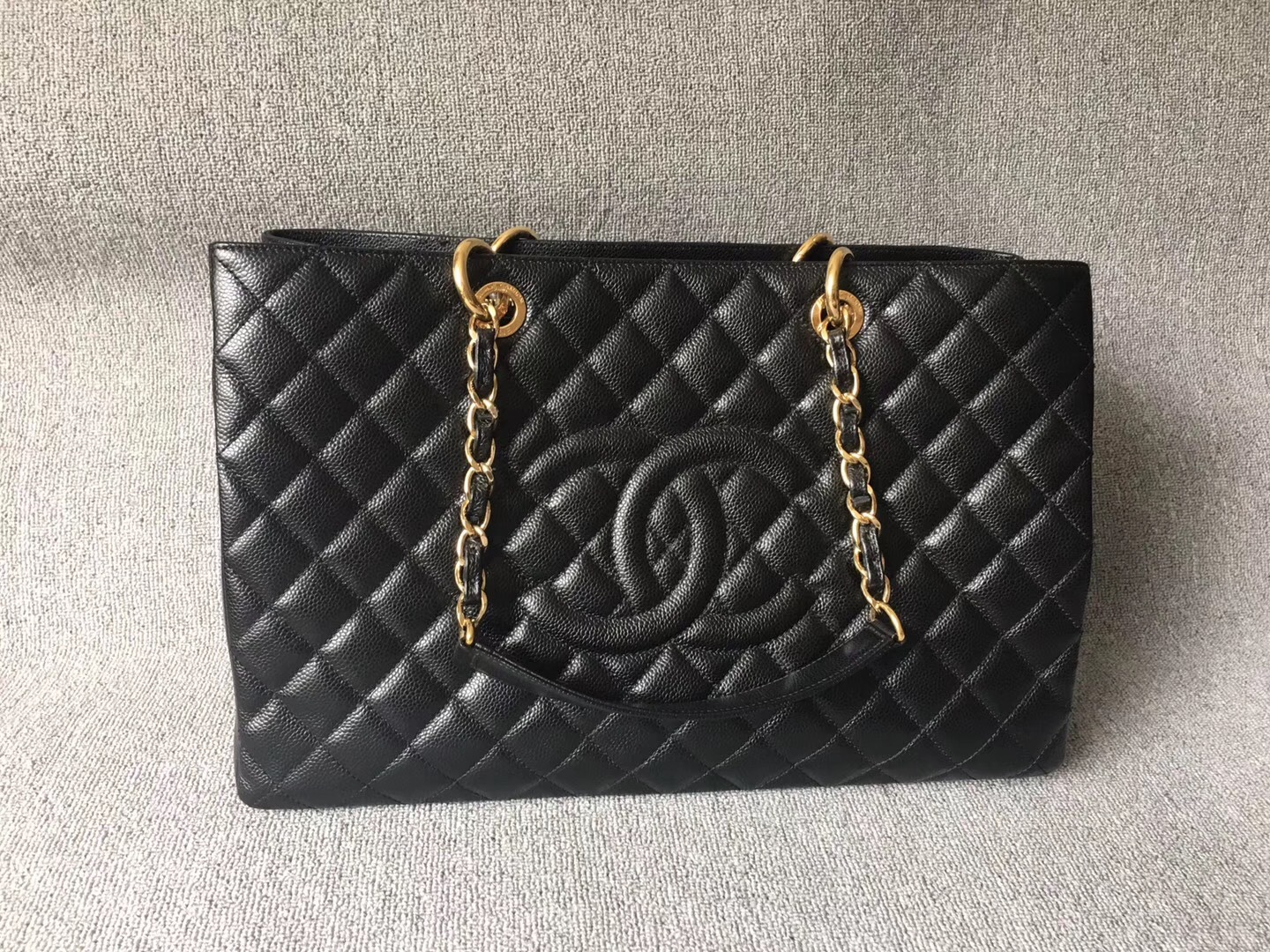 100% AUTH CHANEL BLACK QUILTED CAVIAR XL GST GRAND SHOPPING TOTE BAG