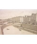 PARIS Place du Petit Pont Seine River in 1880 - Litho Antique Print - $26.01