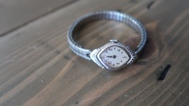 Vintage LADIES Bulova 10k Rolled White Gold Plate Diamond Wristwatch 18mm - $126.71