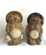 Two SHIGARAKI TANUKI Raccoon Dog Figures Antique Japanese Signed Pottery... - $295.00