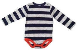 Gymboree Boys 6-12 Months Striped Bodysuit Gray Blue Orange Cotton One-P... - $6.99