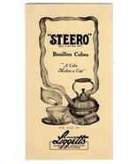 Steero Bouillon Cubes Advertising Steam Kettle 1914 Drug Store Handbill ... - $14.99