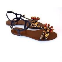 J-2828150 Nuevo Dolce & Gabbana Vera Cuoio Abalorio Sandalias Size 7.5 Marcado - $301.17