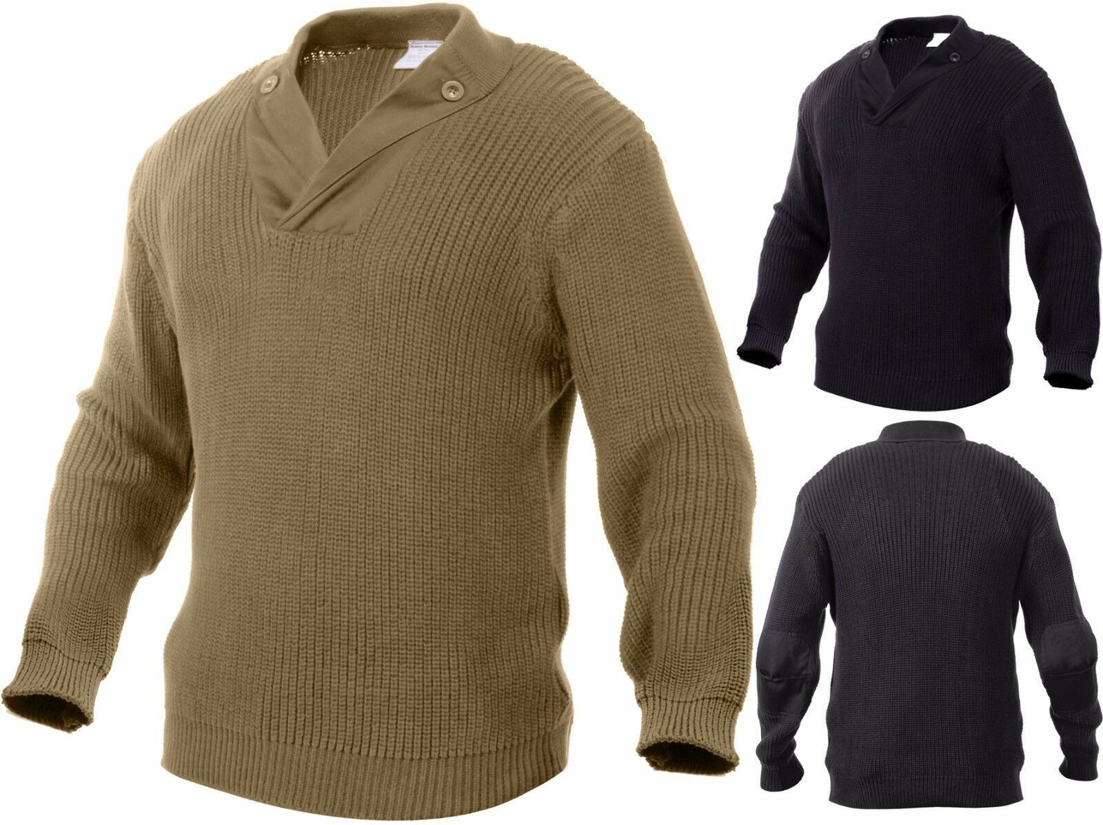 Primary image for Thick Knit Ribbed Military WWII Style Mechanics Sweater with Elbow Patches