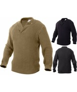 Thick Knit Ribbed Military WWII Style Mechanics Sweater with Elbow Patches - $52.99+