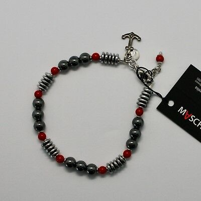 Silver 925 Bracelet with Coral & Hematite BLE-3 Made in Italy by Maschia
