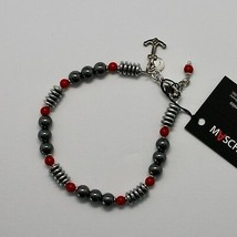 Silver 925 Bracelet with Coral & Hematite BLE-3 Made in Italy by Maschia - $63.18
