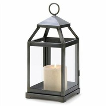 Brushed Silver Metal Contemporary Candle Lantern - £16.03 GBP