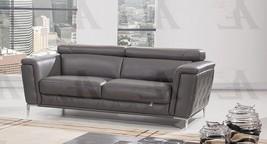 American Eagle EK071-DG Dark Gray Tufted Italian Leather Sofa - $27.951,98 MXN