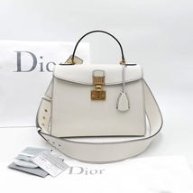 100% Authentic Christian Dior Addict Tote White Calfskin Bag GHW RARE