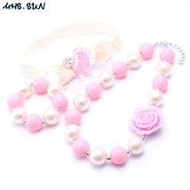 MSH.SUN Ivory+ Pink Color Kid Necklace Bracelet&Headband Set Cute Bubblegum Bead - $24.65