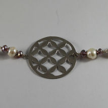 .925 SILVER RHODIUM NECKLACE WITH PURPLE CRYSTALS, WHITE PEARLS, MOTHER OF PEARL image 4