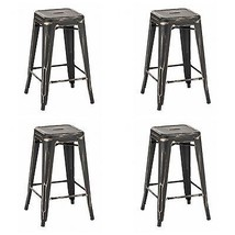 "FOUR NEW 25"" VINTAGE ERA INDUSTRIAL STYLE METAL PUB BAR STOOLS RUSTIC MO... - $499.80"
