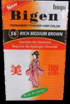 #56 Rich Medium Brown Bigen Hair Dye Powder Color No Amonia No Hydrogen Peroxide - $13.30+