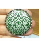 Vintage ROSENTHAL Porcelain Green Brooch PIN Art Deco Silver Frame - $39.59