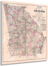 1864 Map of Georgia Poster - Vintage Map of Georgia Wall Art - Vintage Georgia M - $34.99+
