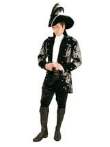 Charades Men's Long John Pirate Jacket, Black/Silver, Large - $118.95