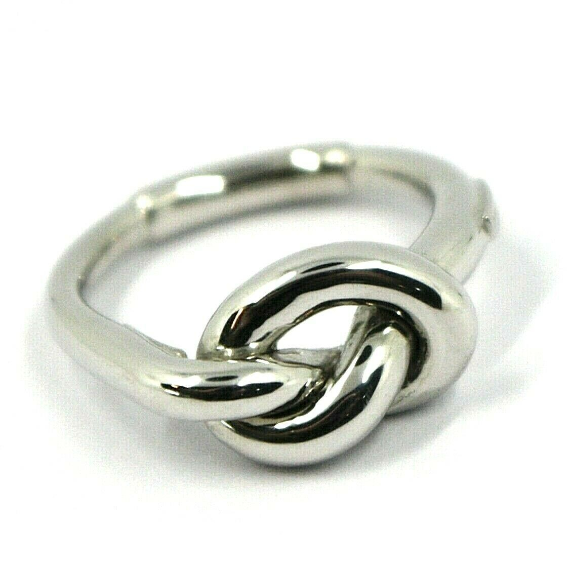 18K WHITE GOLD INFINITE CENTRAL RING, INFINITY, BRAIDED, KNOT, MADE IN ITALY