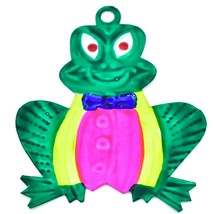 Hand Painted Folk Art Frog Prince Punched Tin Ornament Made in Mexico image 1