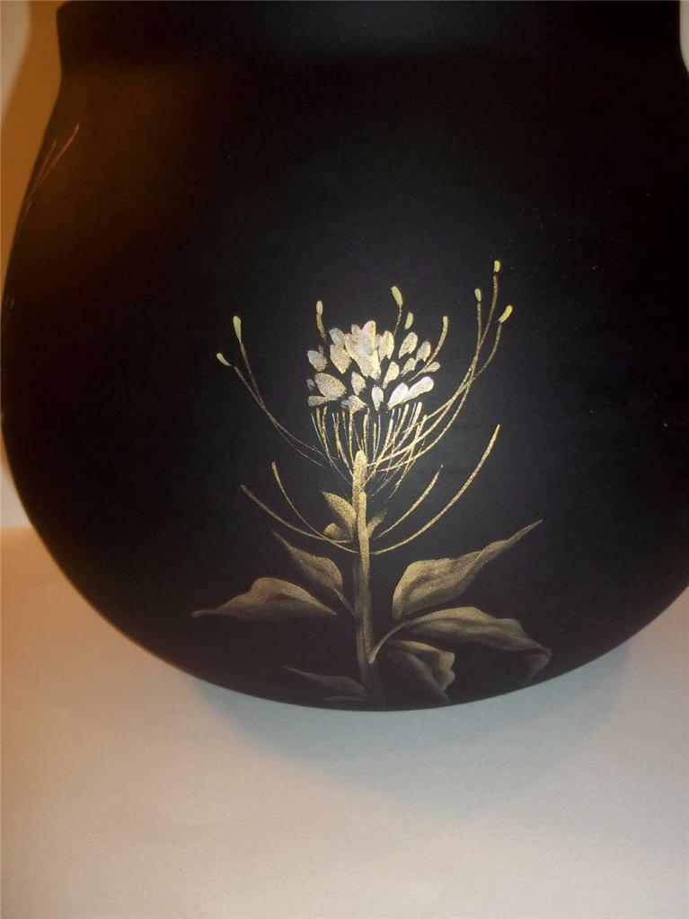Fenton Glass OOAK BLACK SATIN VASE HUMMINGBIRDS & GOLD by J.K.Spindler 2011