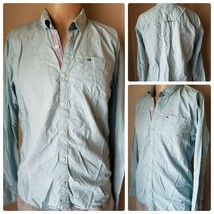 Hilfiger Denim Men's Shirt Long Sleeve Button Up Teal Cotton Fitted Size L - $27.89