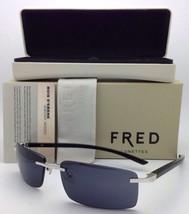 Neu Fred Lunettes Sonnenbrille Ellesmere Sun 102 F2 Silber / Ebony Schwarz Holz