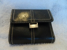 Black trifold wallet with tan stitches from Liz Claiborne - $8.25