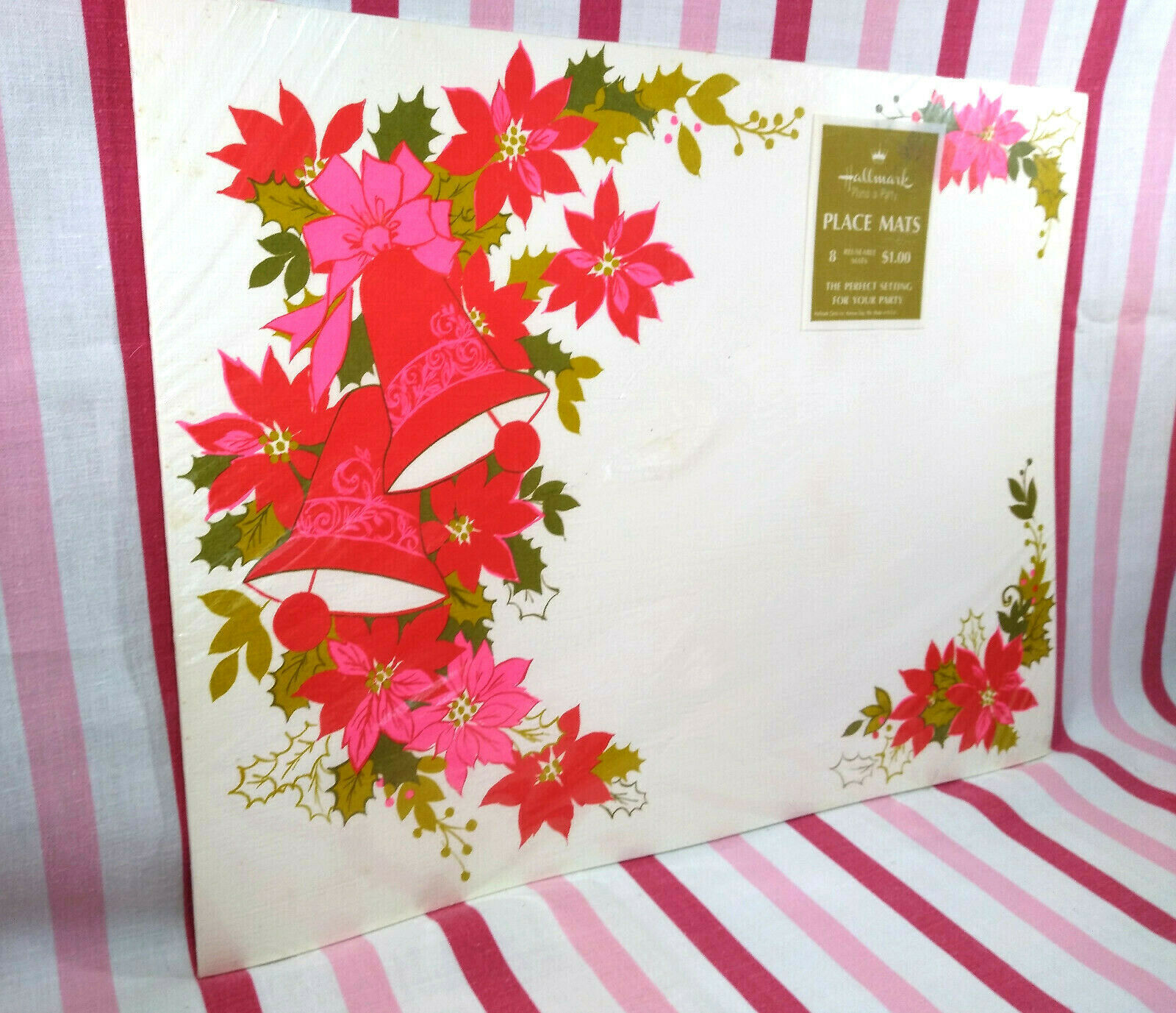 Primary image for FaB Vintage 1960's NEW Old Stock Hallmark PINK Poinsettia & Bells 8pc Placemats!