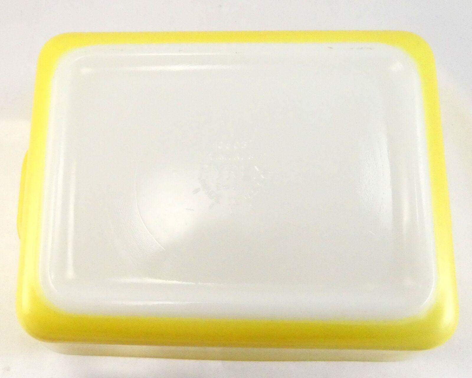 Pyrex 503 Banana Yellow Fridge Dish Milk Glass w/ Lid Made in the USA image 10