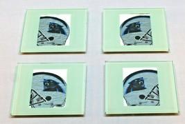 Carolina Panthers Glass 4 Coaster Set w Wooden Storage Case Man Cave Good Used - $9.69
