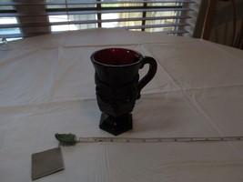 Avon 1876 Cape Cod cup ruby red drink glass pedestal garnet RARE mug gob... - $23.75