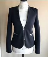 New Zara Snakeskin Detail Black Zippered Blazer Size Small - $31.72
