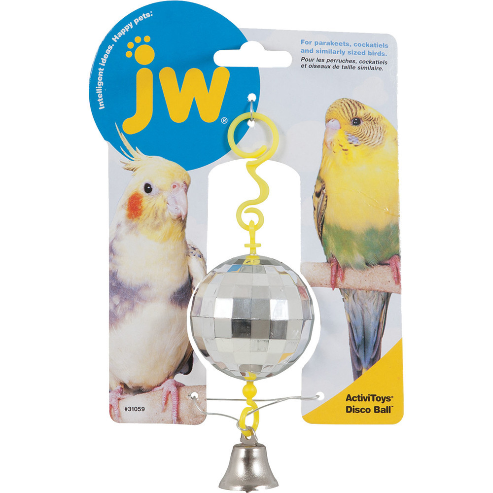 Primary image for JW Yellow/silver Activitoys Disco Ball Bird Toy .67x.44x19 In 618940310594