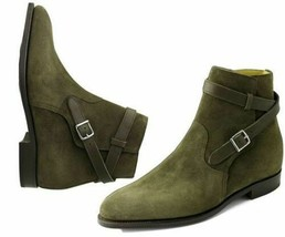 New Handmade Jodhpur Boot Hunter Green color Suede Leather Buckle Closure   - $149.99+